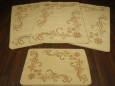 ROMANY WASHABLES NEW 2098 FULL SET OF 4 MATS/RUGS CREAMS/BEIGES NON SLIP